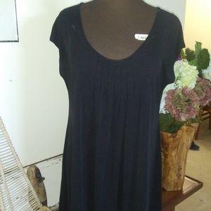 EILEEN FISHER BLACK SCOOP NECK LIGHTWEIGHT DRESS